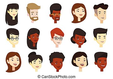Vector set of multicultural women and men.