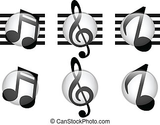 Set of Music Notes Glass Button