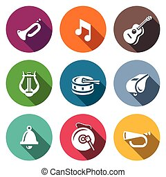 Vector Set of Musical Instruments Icons. Trumpet, Note, ...