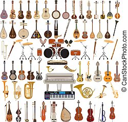 Vector set of musical instruments in flat style - Vector big...