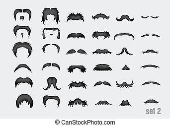 vector set of mustache