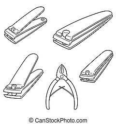 vector set of nail clipper