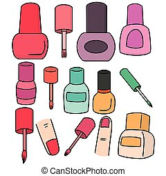 vector set of nail polish