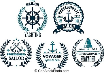 Vector set of nautical heraldic icons for yachting