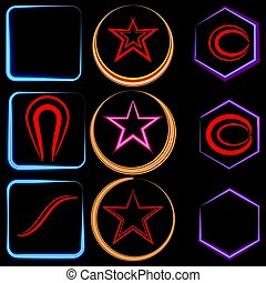 Vector set of neon frames in the form of a square and a star with an ellipse.