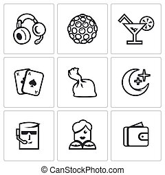 Vector Set of Night Club Icons. Music, Lighting, Drink, Play, Drugs, Night, Protection, Dancer, Finance.