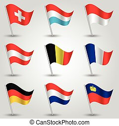 vector set of nine flags - waving simple triangle austrian, ...