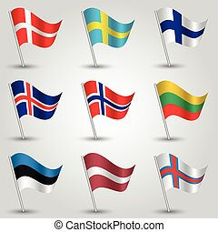 vector set of nine flags - waving simple triangle danish, finnish, icelandic, norwegian, swedish, estonian, lithuanian, latvian and faroese flag on slanted silver pole - icon of states of northern europe