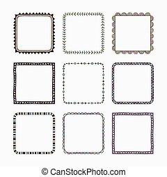 Vector set of nine frames.