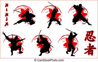 vector set of ninjas