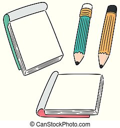 vector set of notebook and pencil