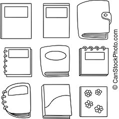 vector set of notebook