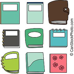 vector set of notebook