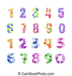 Vector Set of Numbers, Colorful Digits, 3D Balloons and Doodle Hand Drawn Hearts, Decorative Elements Isolated on White Background, Wedding, Anniversary, Birthday Celebration.