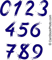 Vector set of numbers stylized as brush strokes.