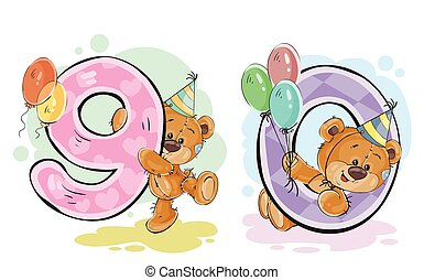 Vector set of numbers with a fun teddy bear