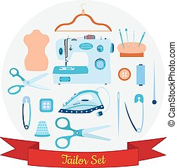 Vector set of objects for sewing, handicraft and taylor.
