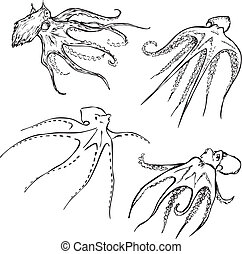Vector Set of octopuses