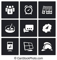 Vector Set of Office Fire Alarm Icons