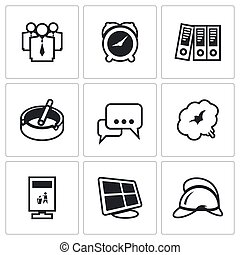 Vector Set of Office Fire Alarm Icons. Team, Time,...