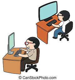 vector set of office worker
