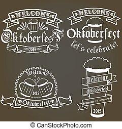 Vector set of oktoberfest labels, design elements. Isolated logo illustration in vintage style.
