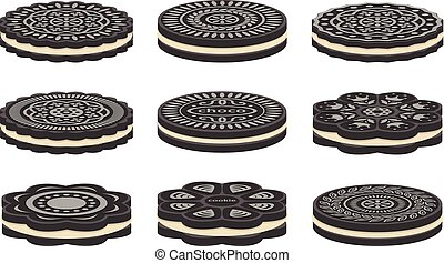 vector set of oreo cookie icons isolated on white...