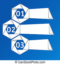 Vector set of origami paper banners.