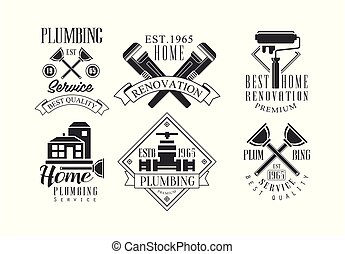 Vector set of original monochrome emblems for plumbing and construction services. Home renovation, house painting and repair