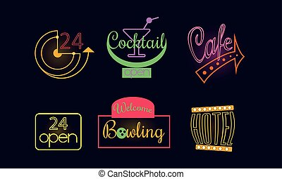 Vector set of original neon signs for 24 open store, bowling club, cafe, cocktail bar and hotel