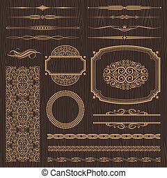 Vector set of ornate page decor elements: banners, frames, deviders, ornaments and patterns on dark wood background