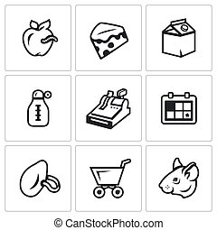 Vector Set of Overdue Product Icons. Wormy Apple, Mold...