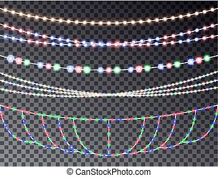 Vector set of overlapping, glowing transparent light garlands isolated on a dark background. Christ