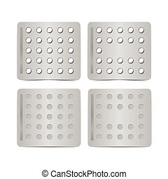 Vector Set of Packs of Pills Isolated on White Background