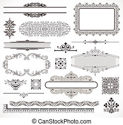 Vector set of page decor elements - Vector set of ornate...