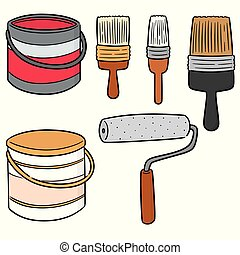 vector set of paint bucket and paint brush