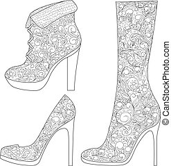 vector set of painted shoes