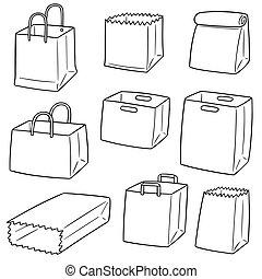 vector set of paper bag