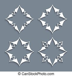 Vector set of paper elements stylized flowers for design