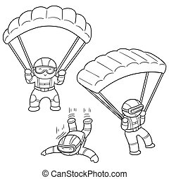 vector set of parachuter