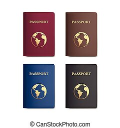Vector Set of Passports with Map Isolated on White ...