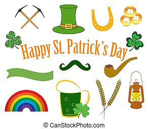 Vector Set of Patrick Day Elements.