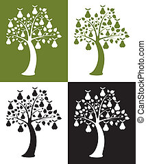vector set of pear trees