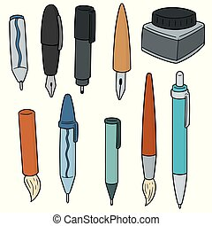 vector set of pen, mechanical pencil and ink bottle
