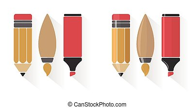 Vector set of pencil, brush, and marker