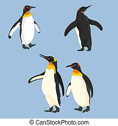 Vector Set Of Penguins In Different Poses