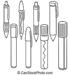 vector set of pens