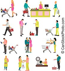 Vector set of people buying food in grocery store. Icons, design elements isolated on white background. Supermarket with shopping carts and baskets.