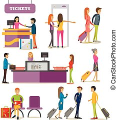 Vector set of people characters in airport terminal. Airline...