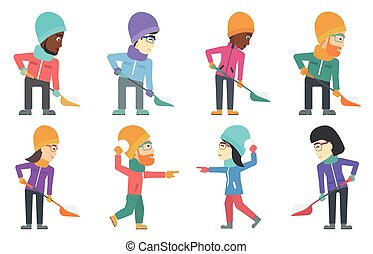 Vector set of people characters in winter.
